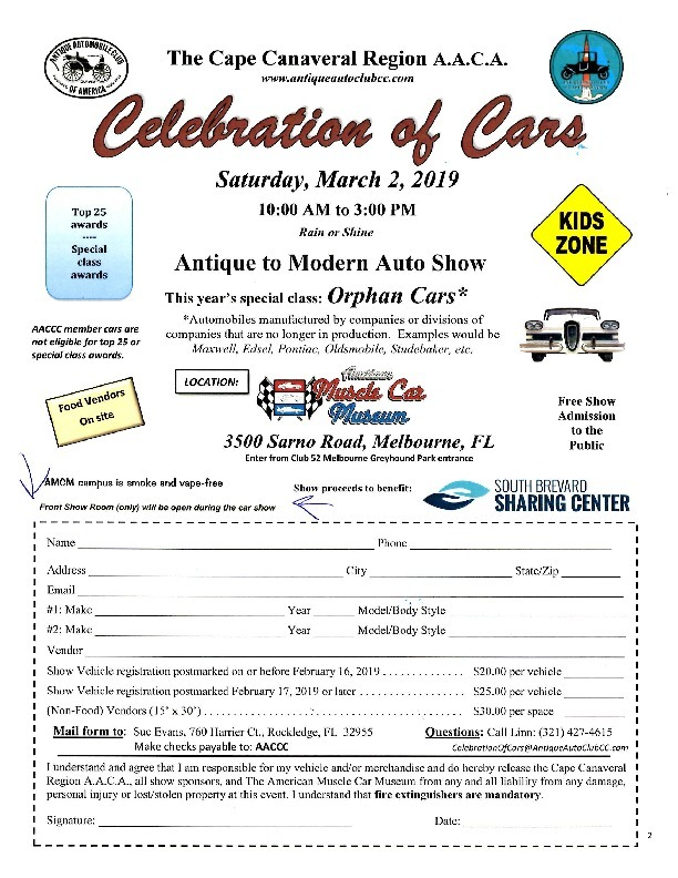 AACA - Antique Auto Club of America Car Show Flyer