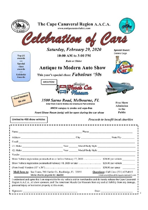 Celebration of Cars - Antique Auto Club of Cape Canaveral Flyer